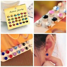 2017 Stainless Steel Silver Circle Crystal Rhinestone Ear Stud Earrings Jewelry