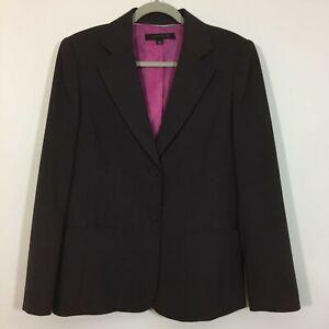 Anne Klein Blazer Size 12 Brown Button Front Career Jacket