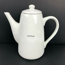 """Pottery Barn CoffeeHouse White Coffee Pot 10"""" Dishwasher Microwave Safe Kettle"""