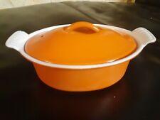 Vintage Le Creuset #18 Orange Enameled Cast Iron Dutch Oven W/ Lid