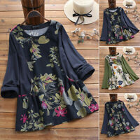 UK Womens Floral Long Sleeve Tops Cotton Ladies Casual Shirts Blouse Pullover