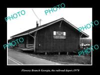 OLD LARGE HISTORIC PHOTO OF FLOWERY BRANCH GEORGIA, RAILROAD DEPOT STATION c1970