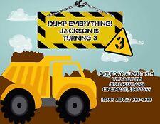 Dump Truck Construction Birthday Party Invitation Any Colors Add Photo