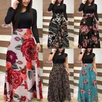 Women Long Sleeve Canonicals Summer  Plus Size Floral Fashion Maxi Sexy Dress