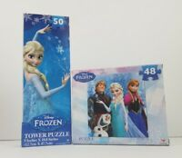 (2) Jigsaw Puzzle lot DISNEY FROZEN Princess Elsa Olaf tower 50 pieces FAST SHIP
