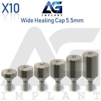 10 Wide Healing Cap Abutment 5.5mm Titanium For Dental Implant Internal Hex
