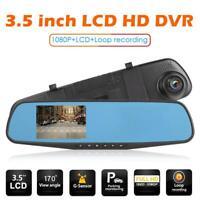 3.5in 1080P Car DVR Camera Rear View Mirror 100° Lens Video Recorder Dash Cam