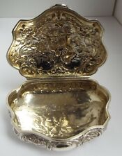 SUPERB LARGE DECORATIVE ENGLISH ANTIQUE 1906 SOLID STERLING SILVER SNUFF BOX