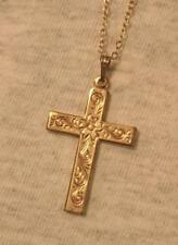 Lovely Etched Goldtone Dogwood Flower Cross Pendant Necklace - Pretty!!