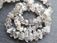 "HERKIMER STYLE DIAMOND QUARTZ BEADS, graduated 5x8mm - 7x13mm, 18"", 100 beads"