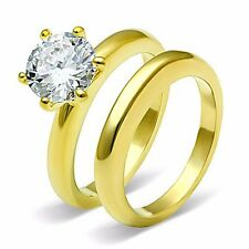 Gold Tone Stainless Steel Womens Wedding Engagement Ring Set Size 5 6 7 8 9 10