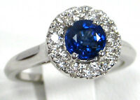 Blue Ceylon Sapphire Ring 18K White Gold U Pave Halo Natural Heirloom $3,763