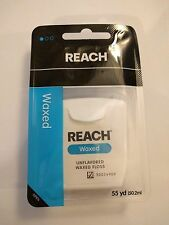 Lot of 3 REACH Unflavored Waxed Dental Floss Johnson and Johnson 55 yds each