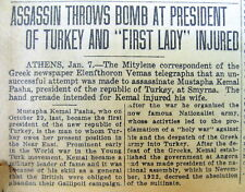 1923 newspaper with ATTEMPTED ASSASSINATION of KEMAL ATATURK , leader of TURKEY