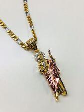 San Judas Tadeo tres tono oro Laminado y Cadena Figaro de acero Inoxidable