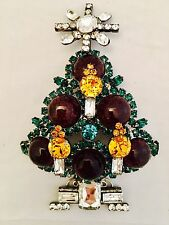 """LAWRENCE VRBA Crystal Art Glass Famous Christmas Tree Pin OOAK 5"""" Collectible"""
