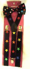 Unisex Adult Kid Multi Color Stars Adjustable Bow Tie+Matching Y-Back Suspenders