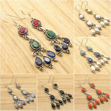 925 Silver Plated Simulated RUBY, EMERALD & SAPPHIRE & Other Fine Gems Earrings
