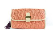 PAUL'S BOUTIQUE Red Tan Raffia Leather Tassle Clutch Bag Handbag Purse NEW