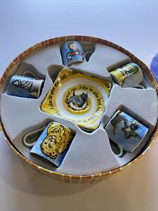 The Wizard Of Oz Tea Party Set (5) 3oz Espresso Cups Saucers & TRAY Paul Cardew