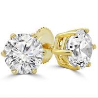 Rund Schliff Solitaire Diamant Nieten 14K Solid Gelbgold 6 Zinken Braut Ohrringe