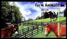 Sierra Leone 2014 MNH SS, Farm Animals, Donkey, Horse, Cow