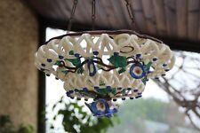 Lustre suspension faïence de Langeais 19e - Liserons - Earthenware chandelier