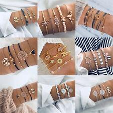 Women Multilayer Crystal Shell Pendant Chain Bangle Bracelet Set Fashion Jewelry
