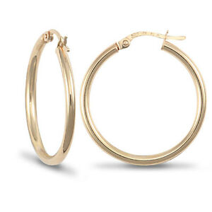 HALLMARKED 9CT YELLOW GOLD PLAIN HOOPED CREOLE EARRINGS SIZES 15-35mm E R J Co