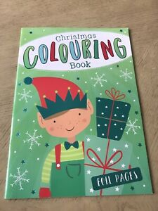 Christmas Kids Colouring Book Foil Pages Elf Book Glitter Pages Unicorn Book