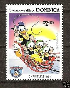 DOMINICA # 872 MNH DISNEY Christmas 1984,  Snow Scene Donald