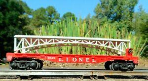 Lionel 6825 Vintage  O Gauge Red Flat Car w/Gray Trestle Bridge