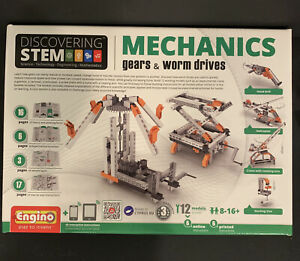 Discovering STEM Mechanics Gears and Worm Drives Engino 12 Models Free Shipping