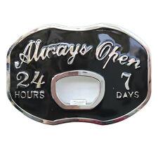 Vintage Always Open Beer Bottle Opener Funny Metal Belt Buckle Mens Cowboy Black