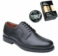 Mens Black Leather Gibson Shoes Size UK 6 7 8 9 10 11 12 13 14 With Polish & Bru