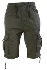 Mens Crosshatch Cargo Combat Shorts Cotton Military Utility 3/4 Pants 30 Inch