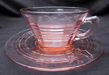 1930's Pink Depression Glass Hocking Circle Tea Cup and Saucer Set