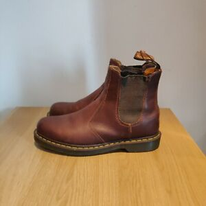 Dr Martens 2976 Brown Tan Chelsea Crazy Horse Leather Boots Size UK 9