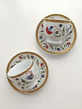 Handmade Gold Trim Turkish Coffee Set (of 4) Cups & Round Dishes Porcelain