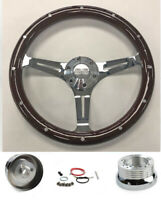 "67-68 Chevelle El Camino Nova Dark Wood on Chrome Steering Wheel 15"" SS Cap"
