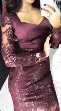 🔥Malina Women's fashion sexy party elegant Dress Lace burgundy wine Small US 2