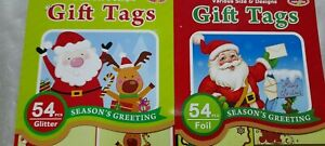 100+ SELF ADHESIVE CHRISTMAS TAGS - GLITTERED & FOILED - 3 SETS TO CHOOSE FROM
