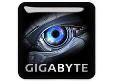 """Gigabyte Eye 1""""x1"""" Chrome Domed Case Badge / Sticker Logo"""
