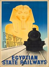 Egypt Calls You Vintage Egyptian State Railways Travel Advertisement Art Poster