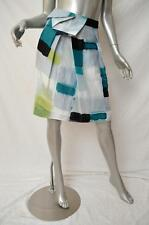 VERONIKA MAINE Multicoloured Watercolour Check Silk Linen A-Line Skirt 6 $219
