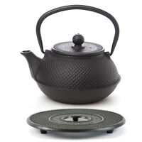 New AVANTI Large Cast Iron Tea Pot 600ml Fine Hobnail Black BONUS TRIVET!