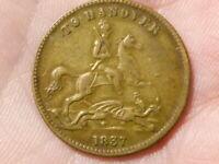 1837 Pictorial To Hanover Victoria Regina GAMING TOKEN Counter  #R74