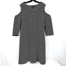 Lane Bryant Shift Dress Womens Plus Size 22/24 Black White Striped Cold Shoulder