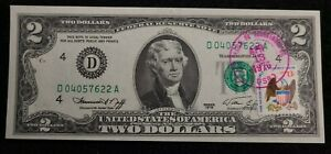 1976 $2 Bill Uncirculated with Bicentennial Stamp cancelled on Apr 13th, 1st day