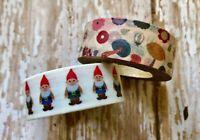 2 Rolls Gnome Washi Tape Scrapbook Decorative Masking Planner Supply Toadstool